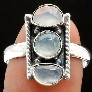 Srilankan Moonstone 🌙 Triple Sterling Silver Ring